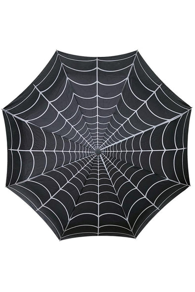 Kreepsville Skull Handle Spiderweb Umbrella