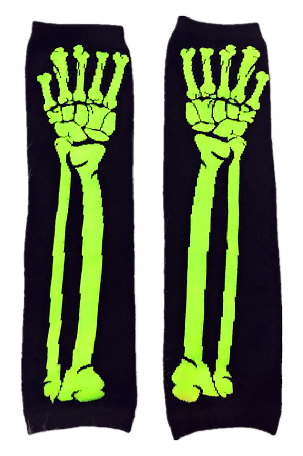 lime green skeleton armwarmers