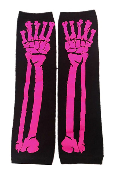 hot pink kawaii skeleton armwarmers