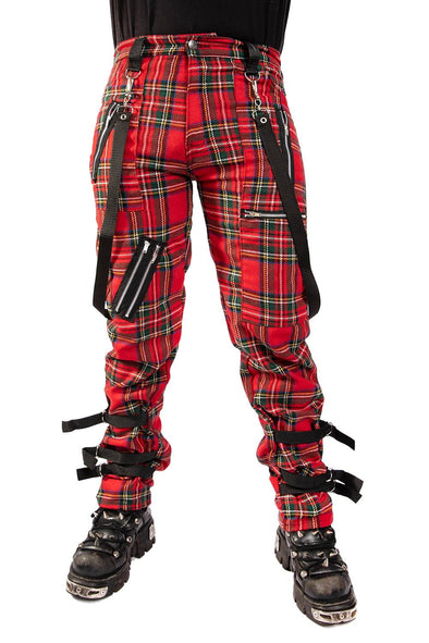 Tiger of London Strap Bondage Tartan Pants (Red Plaid)