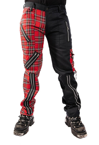 Tiger of London Split-Leg Bondage Pants (Black Cotton / Red Tartan)