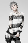 Punk Rave Damage Striped Sweater [Black/White] - Vampirefreaks Store
