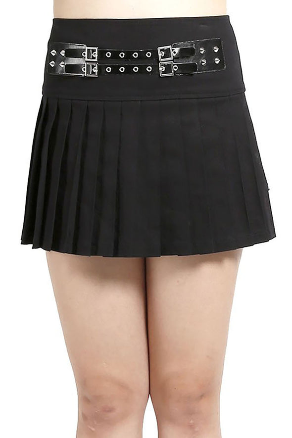 Tripp Pleated Skirt w/ Eyelet Belt