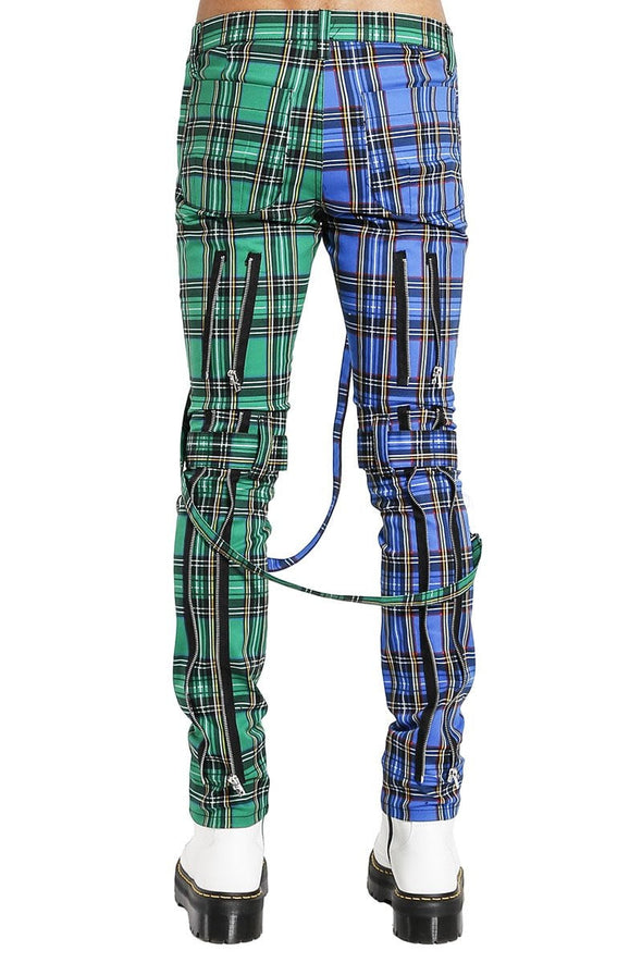 Tripp Split Leg Plaid Bondage Pants (Blue / Green) - Vampirefreaks Store