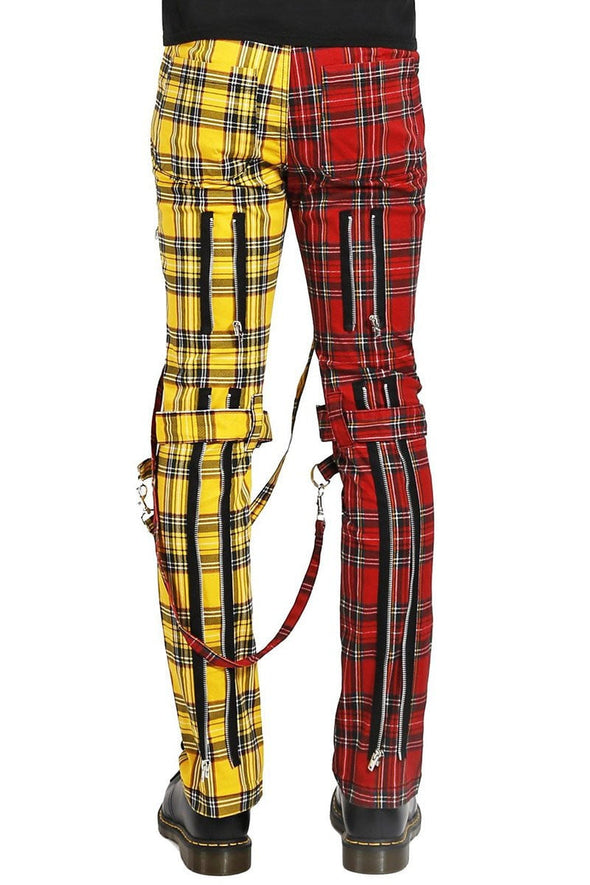 Tripp Split Leg Plaid Bondage Pants (Yellow / Red) - Vampirefreaks Store
