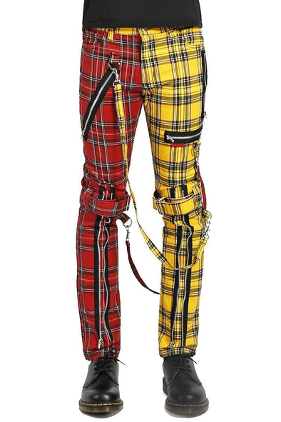 Tripp Split Leg Plaid Bondage Pants (Yellow / Red)