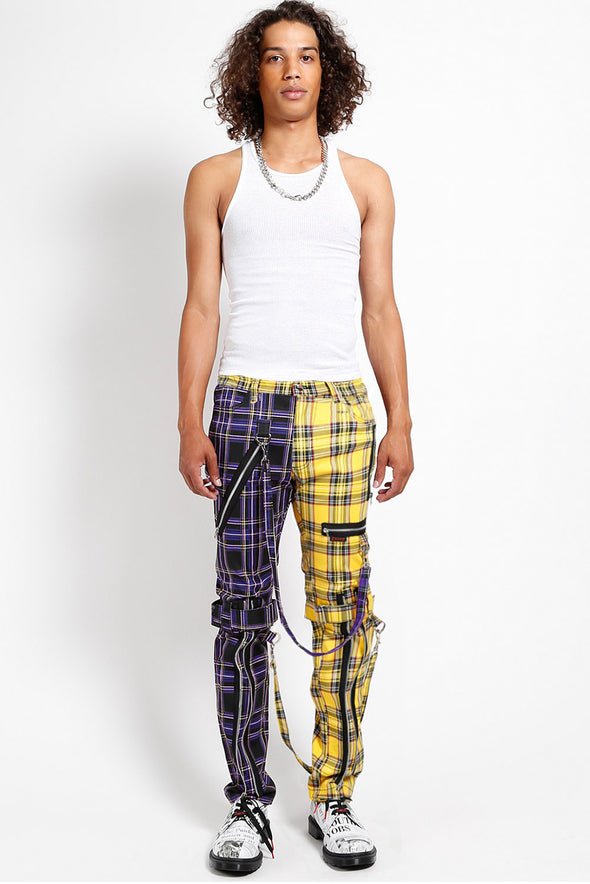mens punk clothes purple plaid pants