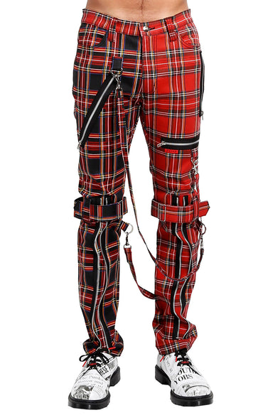 Tripp Split Leg Plaid Bondage Pants (Red/Black)