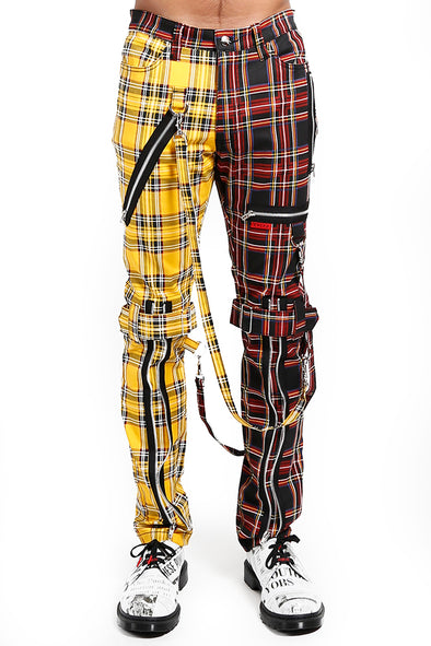 Tripp Split Leg Plaid Bondage Pants [Black/Yellow]