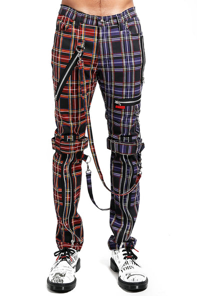 Tripp NYC Split Leg Bondage Pants [Black/Purple Plaid]