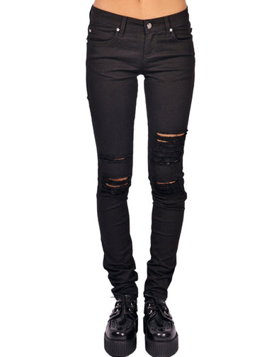 Tripp NYC Ladies Knee Slit Jeans - Vampirefreaks Store