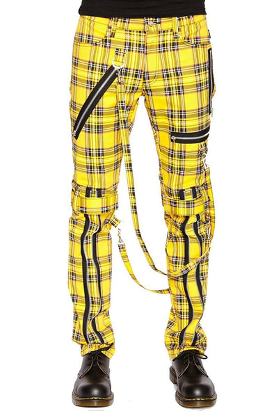 Tripp NYC Yellow Plaid Bondage Pants