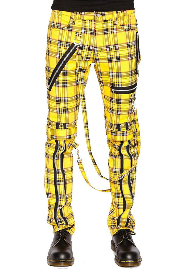 Tripp NYC Yellow Plaid Bondage Pants - Vampirefreaks Store