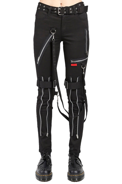 Tripp NYC Ladies High Waist Bondage Pants [Black] - Vampirefreaks Store