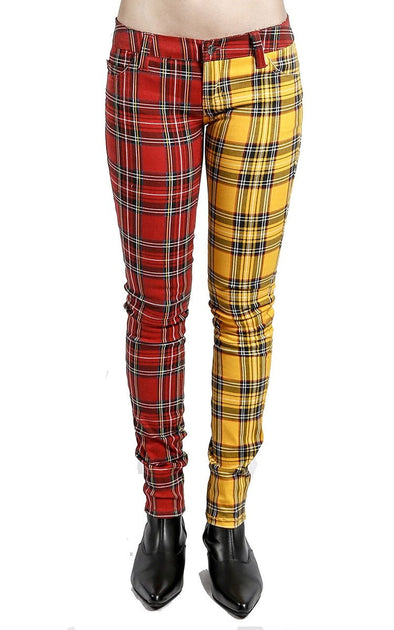 Trip Split Personality Plaid Jeans (Yellow/Red) - Vampirefreaks Store