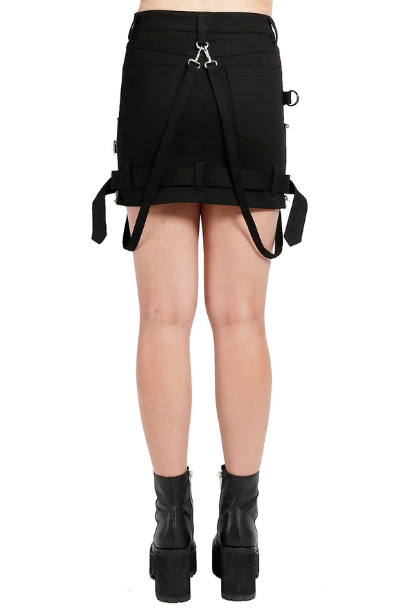 Tripp Black Bondage Skirt