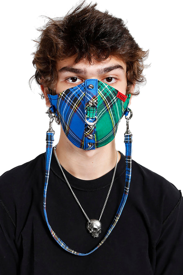 Tripp Split Plaid & Studs Face Mask [Blue/Green]