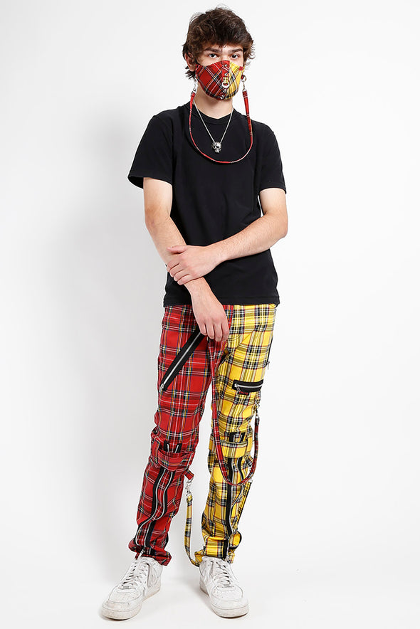 Tripp Split Plaid & Studs Face Mask [Red/Yellow]