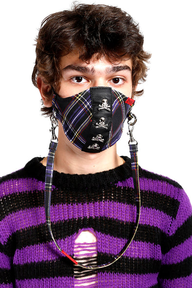 Tripp Skull Studs Face Mask [Purple Plaid]