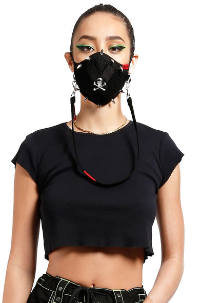 Tripp Mesh Skull and Spike Face Mask [Black]