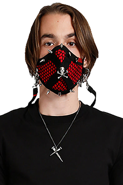 Tripp Mesh Skull and Spike Face Mask [Red/Black]
