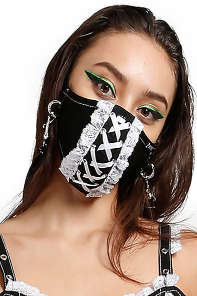 Tripp Lace Face Mask [Black/White]