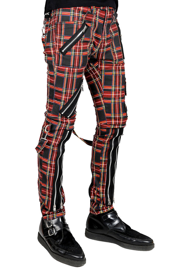 Tripp Mens Black Plaid Bondage Punk Pants - Vampirefreaks Store