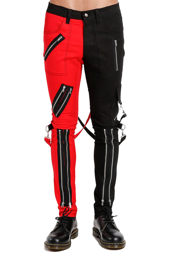 Tripp NYC Split Leg Bondage pants (Black / Red) - Vampirefreaks Store