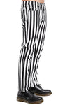 Tripp NYC Black/White Stripe Rocker Jeans - Vampirefreaks Store