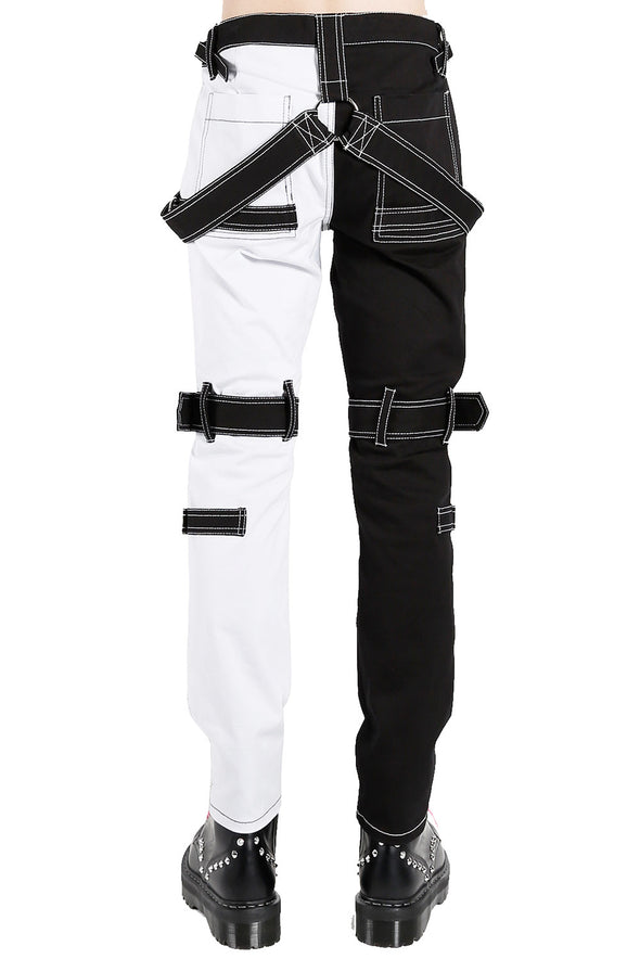 mens black and white pants