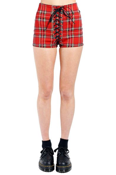 Tripp NYC High Waist Corset Shorts [Red Plaid] - Vampirefreaks Store