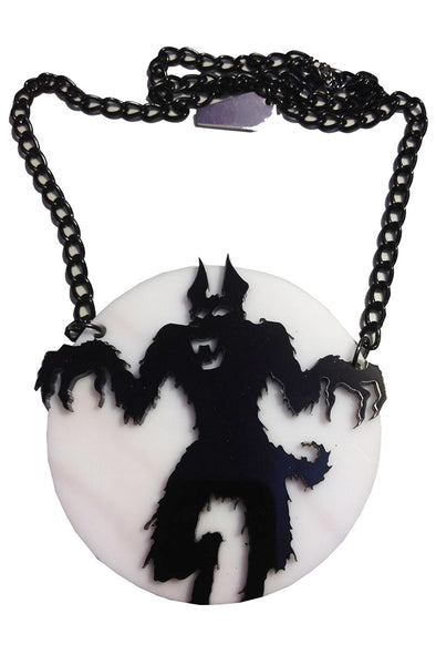 Kreepsville Howling At The Moon Acrylic Necklace