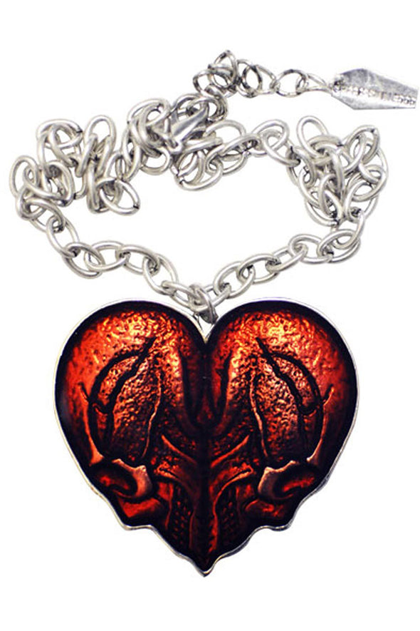 Kreepsville Red Skull Heart Necklace - Vampirefreaks Store
