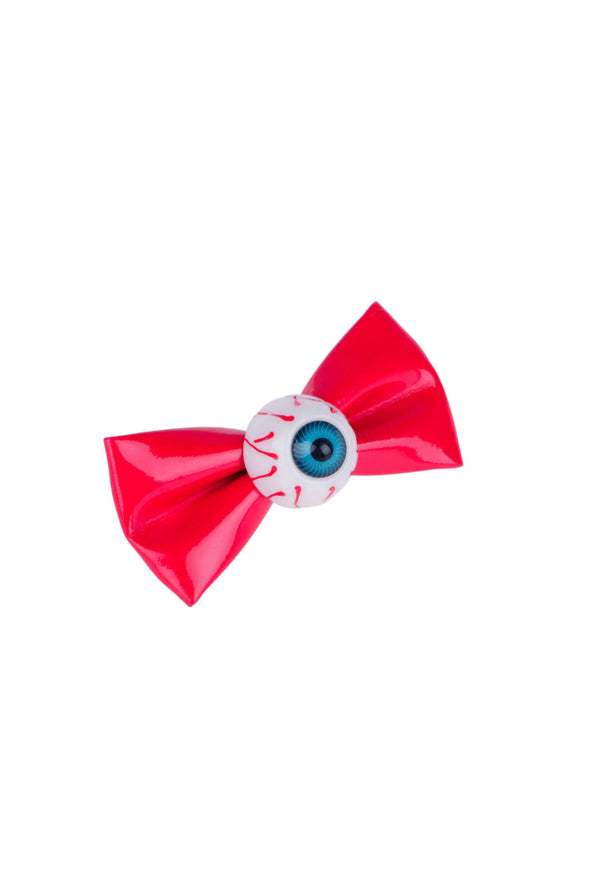 Red Eyeball Bow Hair Clips [Set of 2]