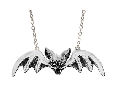 Rock Rebel Lily Bat Silver Pendant