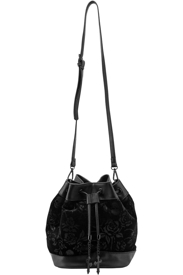 At Nightfall Velvet Handbag [Black]