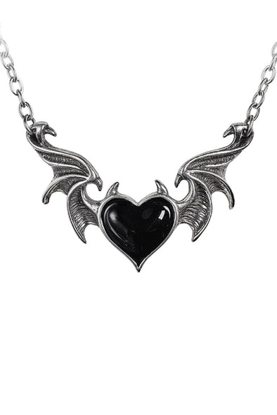 Goth Heart Bat Necklace