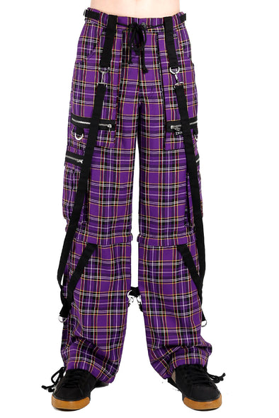 Tripp Strap Plaid Baggy Bondage Pants (Purple Plaid)