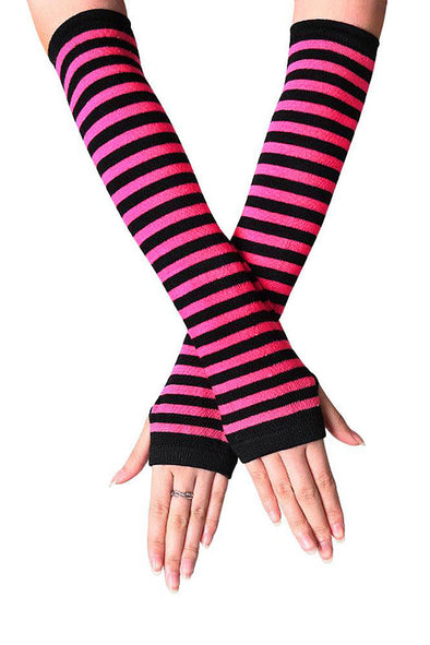 Emo Striped Arm Warmers [Pink/Black]
