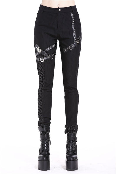 Dark In Love Punk Rivet Strip Pants