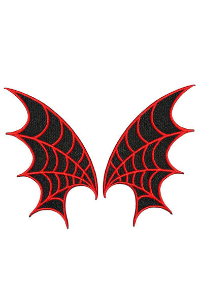 Kreepsville Web Wings Patches (Pair) - Red - Vampirefreaks Store