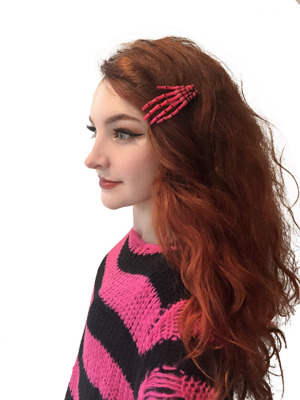 Skeleton Hand Hair Clips [Toxic Pink]