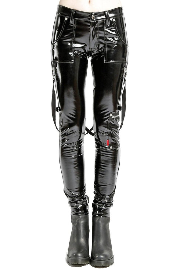 Tripp Ladies Black Vinyl PVC Skinny Strap Pants