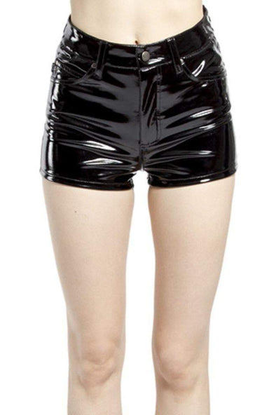 Tripp Vinyl PVC High Waisted Shorts