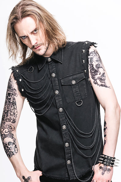 Devil Fashion Denim Destruktor Vest - Vampirefreaks Store