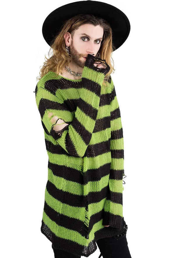 Slimer Distress Knit Sweater