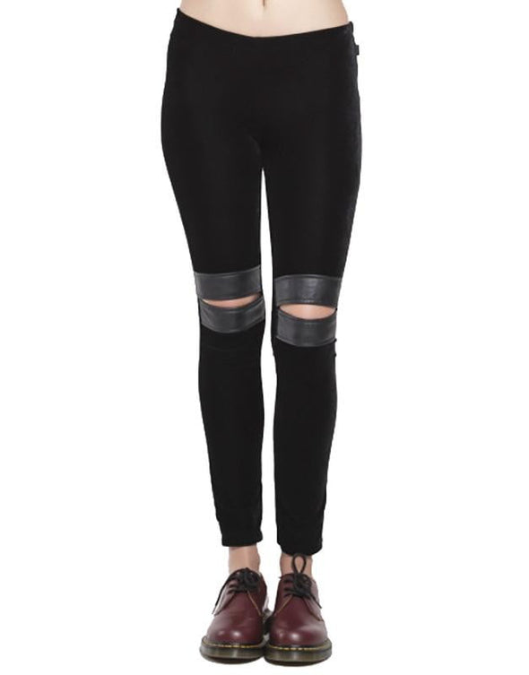 Tripp Knee Slit Velvet Leggings