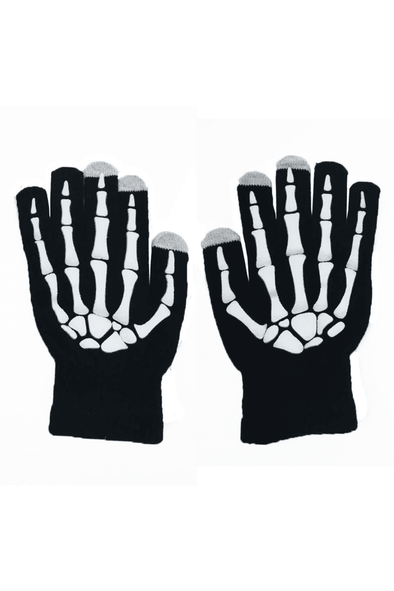 Skeleton Smart Phone Gloves - Black / White