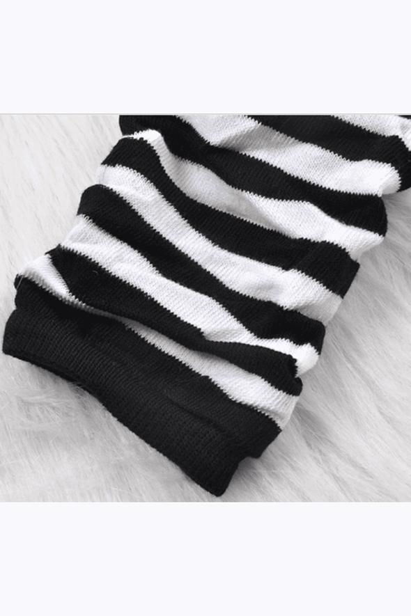 Emo Striped Arm Warmers [Black/White]