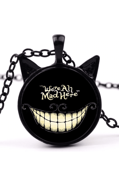 We're All Mad Here - Alice in Wonderland Cheshire Cat Necklace
